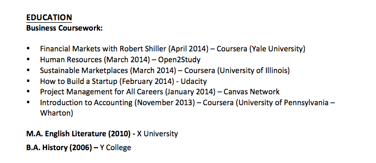 how to list moocs on your resume