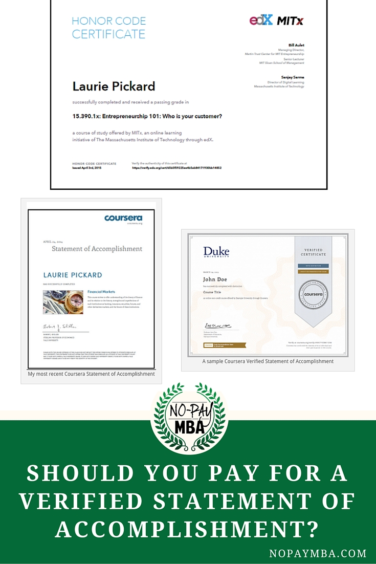 No Pay MBA  Pay Certificate Sample